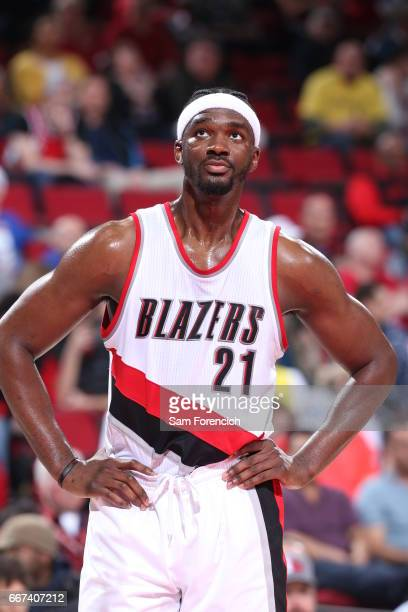 Noah Vonleh of the Portland Trail Blazers looks on during the game against the New York Knicks on March 23 2017 at the Moda Center in Portland Oregon...