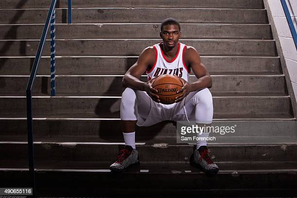 Noah Vonleh of the Portland Trail Blazers poses for photos during the annual Media Day September 28 2015 at the Moda Center in Portland Oregon NOTE...