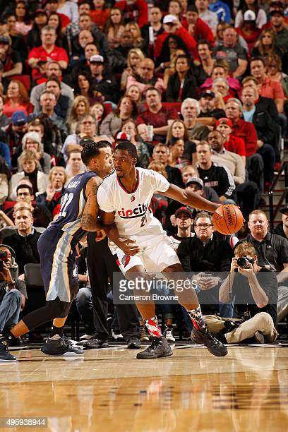 Noah Vonleh of the Portland Trail Blazers posts up against the Memphis Grizzlies on November 5 2015 at the Moda Center in Portland Oregon NOTE TO...