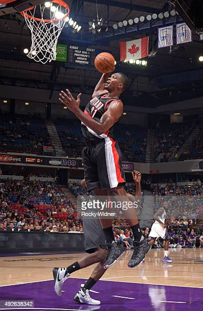 Noah Vonleh of the Portland Trail Blazers rebounds against the Sacramento Kings on October 10 2015 at Sleep Train Arena in Sacramento California NOTE...