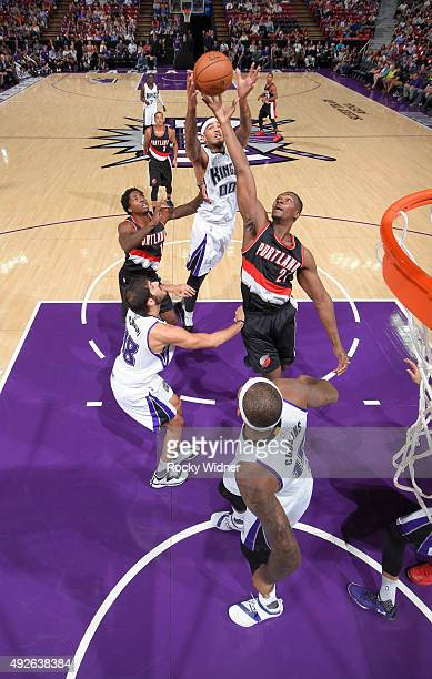 Noah Vonleh of the Portland Trail Blazers rebounds against Willie CauleyStein of the Sacramento Kings on October 10 2015 at Sleep Train Arena in...