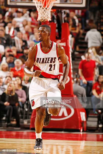 Noah Vonleh of the Portland Trail Blazers runs the court against the Golden State Warriors during a preseason game on October 8 2015 at the Moda...
