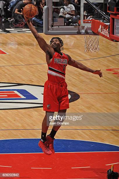 Noah Vonleh of the Portland Trail Blazers shoots a lay up against the LA Clippers on November 09 2016 at STAPLES Center in Los Angeles California...