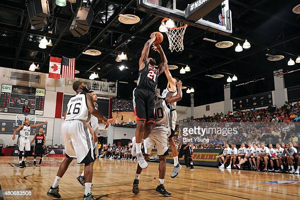 Noah Vonleh of the Portland Trail Blazers shoots against the San Antonio Spurs on July 14 2015 at The Cox Pavilion in Las Vegas Nevada NOTE TO USER...