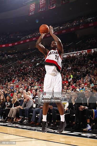 Noah Vonleh of the Portland Trail Blazers shoots the ball against the Golden State Warriors during a preseason game on October 8 2015 at the Moda...