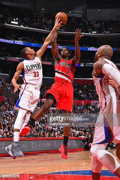 Noah Vonleh of the Portland Trail Blazers shoots the ball against the LA Clippers on November 09 2016 at STAPLES Center in Los Angeles California...