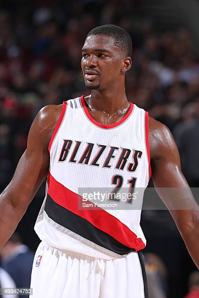 Noah Vonleh of the Portland Trail Blazers stands on the court against the Utah Jazz during a preseason game on October 18 2015 at the Moda Center...