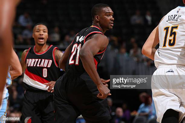 Noah Vonleh of the Portland Trail Blazers takes the court against the Denver Nuggets at Pepsi Center on November 9 2015 in Denver Colorado The...