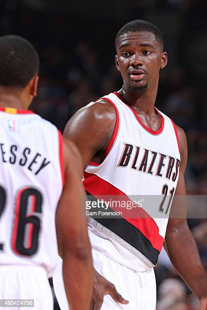Noah Vonleh of the Portland Trail Blazers talks to a teammate against the Utah Jazz during a preseason game on October 18 2015 at the Moda Center...