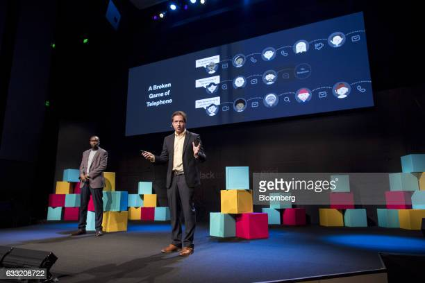 Noah Weiss head of search learning and intelligence for Slack Technologies Inc right speaks as Isaiah Greene product manager of search learning and...