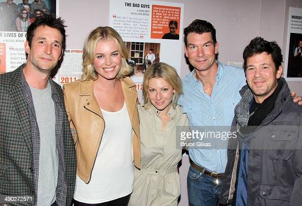 Noah Wyle Rebecca Romijn Ari Graynor Jerry O'Connell and Christian Kane pose backstage at the New York premiere of 'American Hero' at Second Stage...