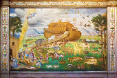 Fresco representing the animals getting on Noah's Ark. Fresco painted in 1556 by Aurelio Luini in the church of San Maurizio in Milan, Italy. The entry into the church is free.