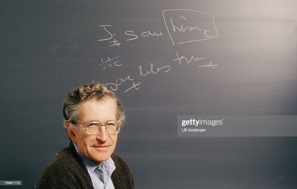 Noam Chomsky poses while in his office at M.I.T. University (Massachusetts Institute of Technology) in Boston,Massachusetts on the 20th of October 1987.