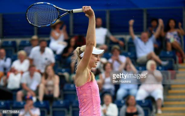 Noami Broady of Great Britain celebrates winning her first round match against Alize Cornet of France on day 1 of the Aegon Classic Birmingham at...