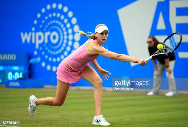 Noami Broady of Great Britain hits a backhand during the first round match against Alize Cornet of France on day 1 of the Aegon Classic Birmingham at...