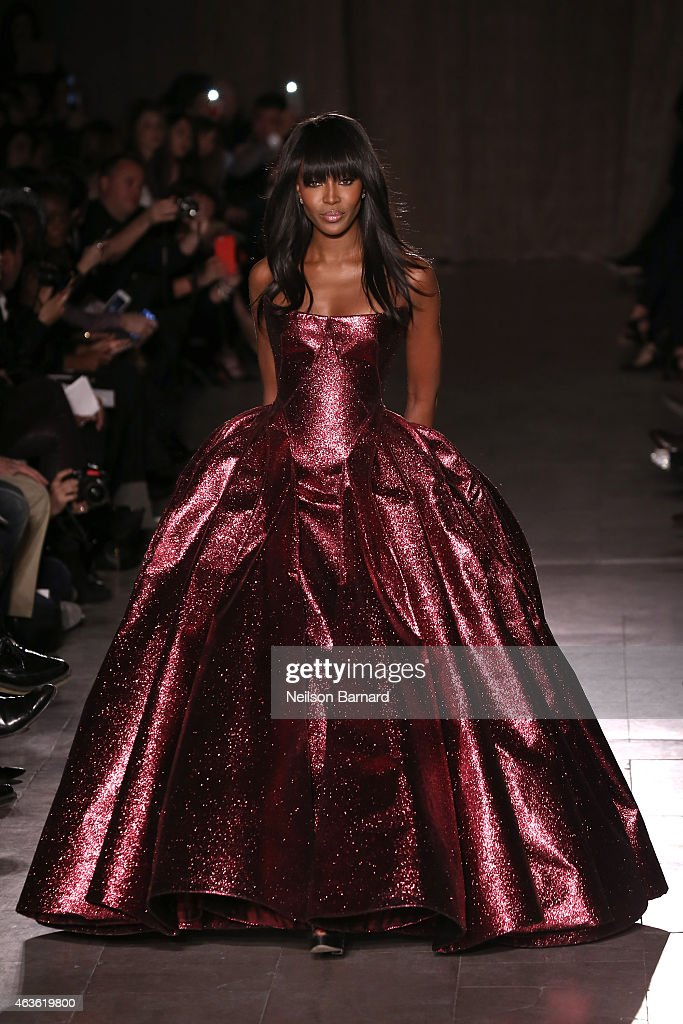 Noami Campbell walks the runway at the Zac Posen fashion show during Mercedes-Benz Fashion Week Fall 2015 at Vanderbilt Hall at Grand Central Terminal on February 16, 2015 in New York City.