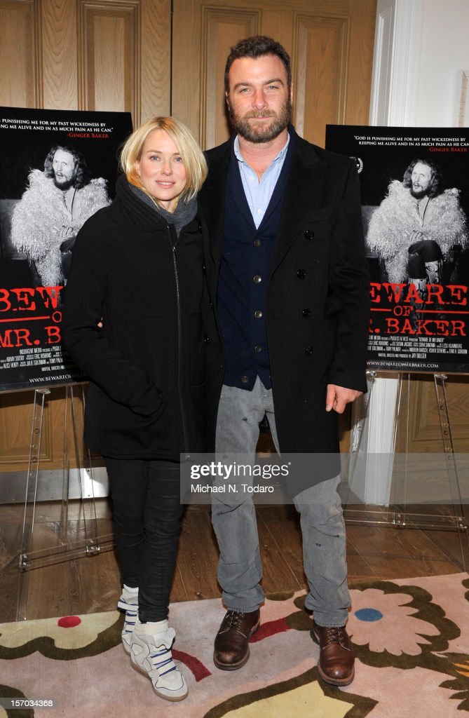 Noami Watts and <a gi-track='captionPersonalityLinkClicked' href=/galleries/search?phrase=Liev+Schreiber&family=editorial&specificpeople=203259 ng-click='$event.stopPropagation()'>Liev Schreiber</a> attend the 'Beware of Mr. Baker' screening at the Crosby Street Hotel on November 27, 2012 in New York City.