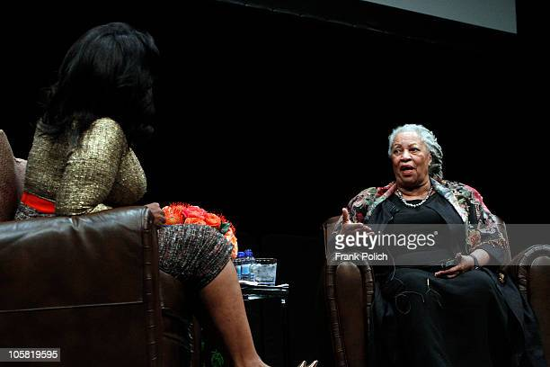 Nobel and Pulitzer Prize winning author Toni Morrison talks with alk show host Oprah Winfrey during the annual Carl Sandburg Literary Awards Dinner...