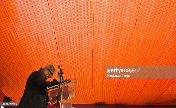 Nobel laureate Amartya Sen addresses key note during the Jaipur Literature Festival at Diggi Palace on January 17 2014 in Jaipur India The Jaipur...