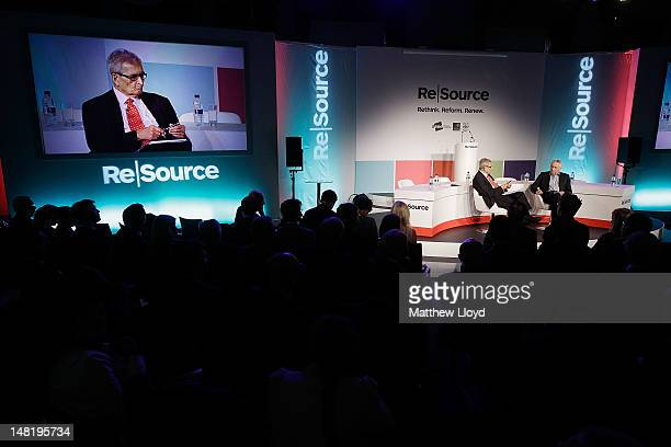 Nobel Laureate Amartya Sen of Harvard University talks to broadcaster Jonathan Dimbleby at the ReSource 2012 conference on July 12 2012 in Oxford...