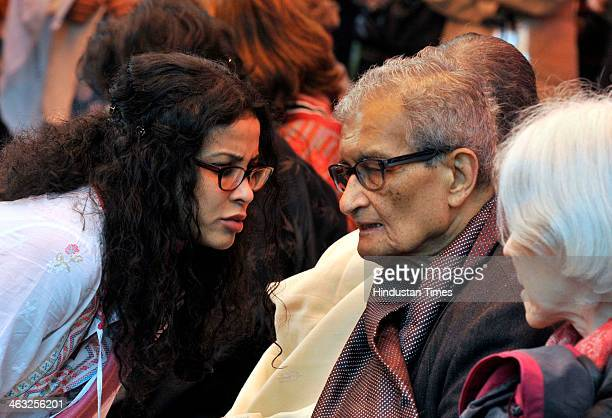 Nobel laureate Amartya Sen with his wife and daughter and actor Nandana Sen at the inaugural ceremony of the Jaipur Literature Festival at Diggi...