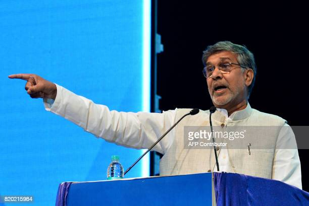 Nobel Laureate and human rights activist Kailash Satyarthi speaks during the inaugural event of the Dr BR Ambedkar International Conference 2017 in...