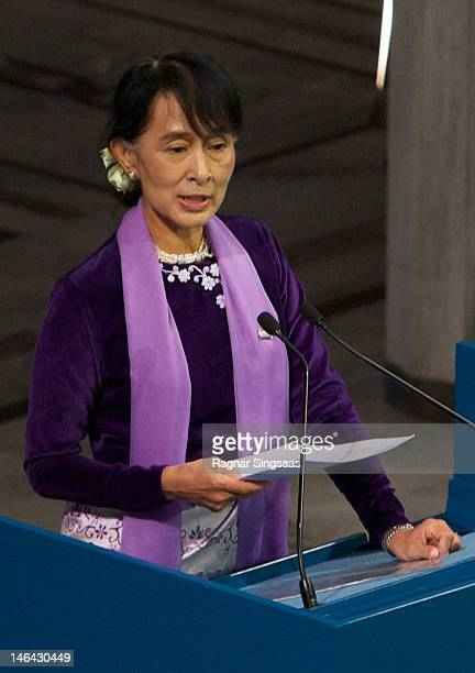 Nobel Laureate Aung San Suu Kyi speaks during a Nobel lecture at Oslo City Hall on June 16 2012 in Oslo Norway Aung San Suu Kyi was awarded the Nobel...
