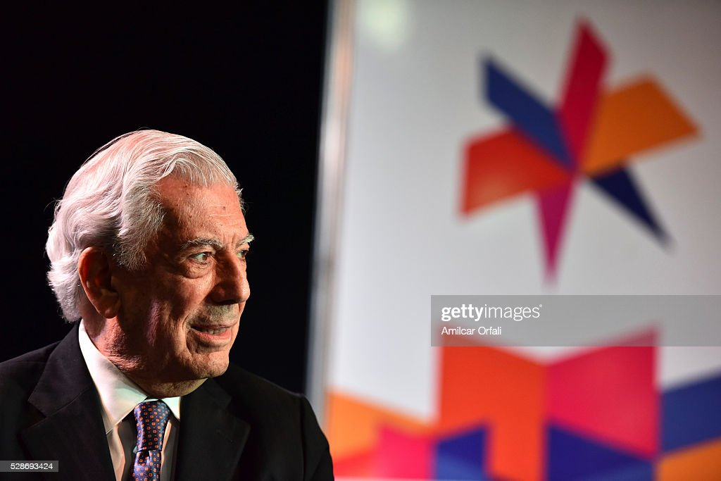 "Nobel Laureate of Literature Mario Vargas Llosa speaks during a conference to present his book ""Cinco esquinas"" as part of Buenos Aires International Book Fair at La Rural on May 06, 2016 in Buenos Aires, Argentina."