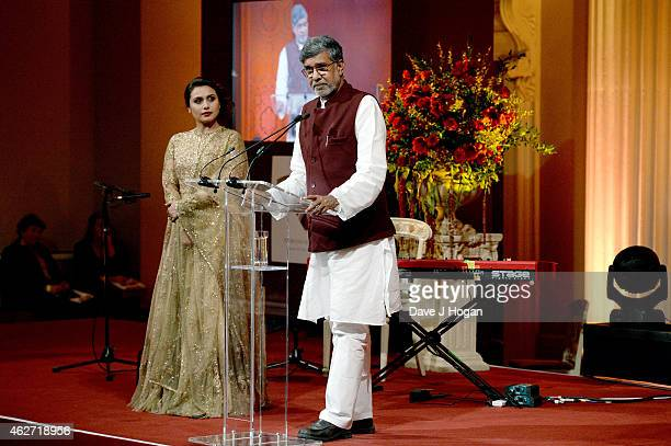 Nobel Laureate Kailash Satyarthi and actress Rani Mukerji are seen onstage as thye attend the British Asian Trust dinner at Banqueting House on...