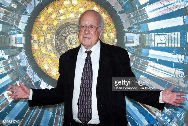 Nobel laureate Professor Peter Higgs at the Science Museum London ahead of the opening of the the museum's new 'Collider' exhibition which gives...