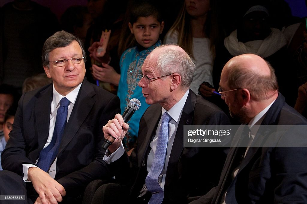Nobel laureates Jose Barroso, <a gi-track='captionPersonalityLinkClicked' href=/galleries/search?phrase=Herman+Van+Rompuy&family=editorial&specificpeople=4476281 ng-click='$event.stopPropagation()'>Herman Van Rompuy</a> and Martin Schultz attend the Save the Children's Peace Prize Festival at Nobel Peace Centre on December 10, 2012 in Oslo, Norway.