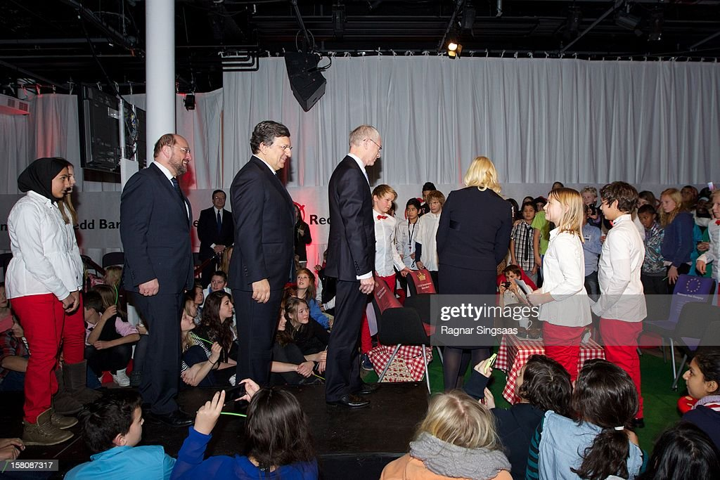 Nobel laureates Jose Barroso, Herman Van Rompuy, Martin Schultz and Princess Mette-Marit of Norway attend the Save the Children's Peace Prize Festival at Nobel Peace Centre on December 10, 2012 in Oslo, Norway.