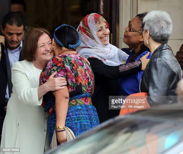 Nobel Laureates Mairead Maguire Rigoberta Menchu Tum Tawakkol Karman Leymah Gbowee arriving at Belfast City H to attend the fourth biennial...