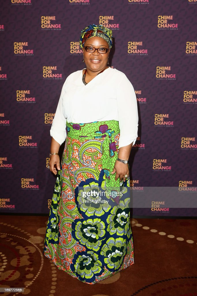 Nobel Peace Laureate and Liberian peace activist Leymah Gbowee poses backstage in the media room at the 'Chime For Change: The Sound Of Change Live' Concert at Twickenham Stadium on June 1, 2013 in London, England. Chime For Change is a global campaign for girls' and women's empowerment founded by Gucci with a founding committee comprised of Gucci Creative Director Frida Giannini, Salma Hayek Pinault and Beyonce Knowles-Carter.