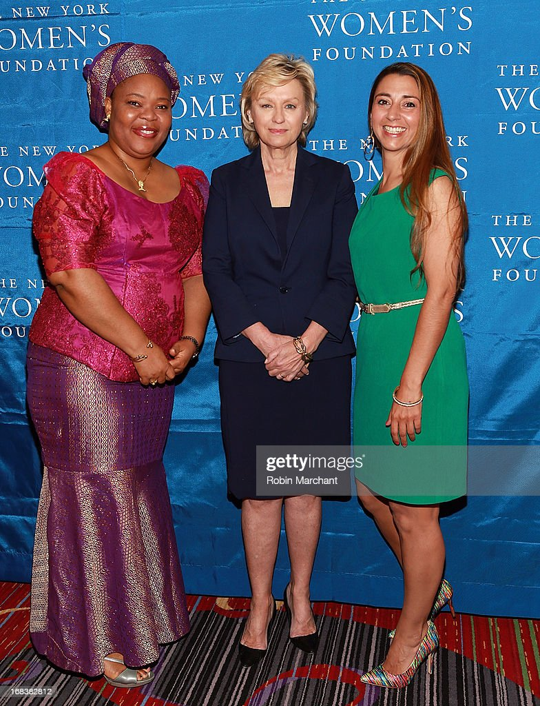 Nobel Peace Laureate and Liberian peace activist Leymah Gbowee, Tina Brown, Founder and Editor in Chief of The Newsweek Daily Beast Company and Rachel Lloyd, Founder and CEO of Girls Educational & Mentoring Services attend The 26th Annual Celebrating Women Breakfast at The New York Marriott Marquis on May 9, 2013 in New York City.