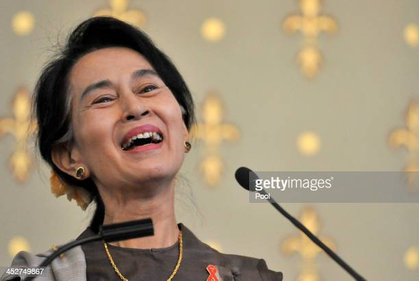 Nobel Peace Laureate and Myanmar opposition leader Aung San Suu Kyi speaks at the launch of the AIDS 2014 world conference to be hosted in Australia...