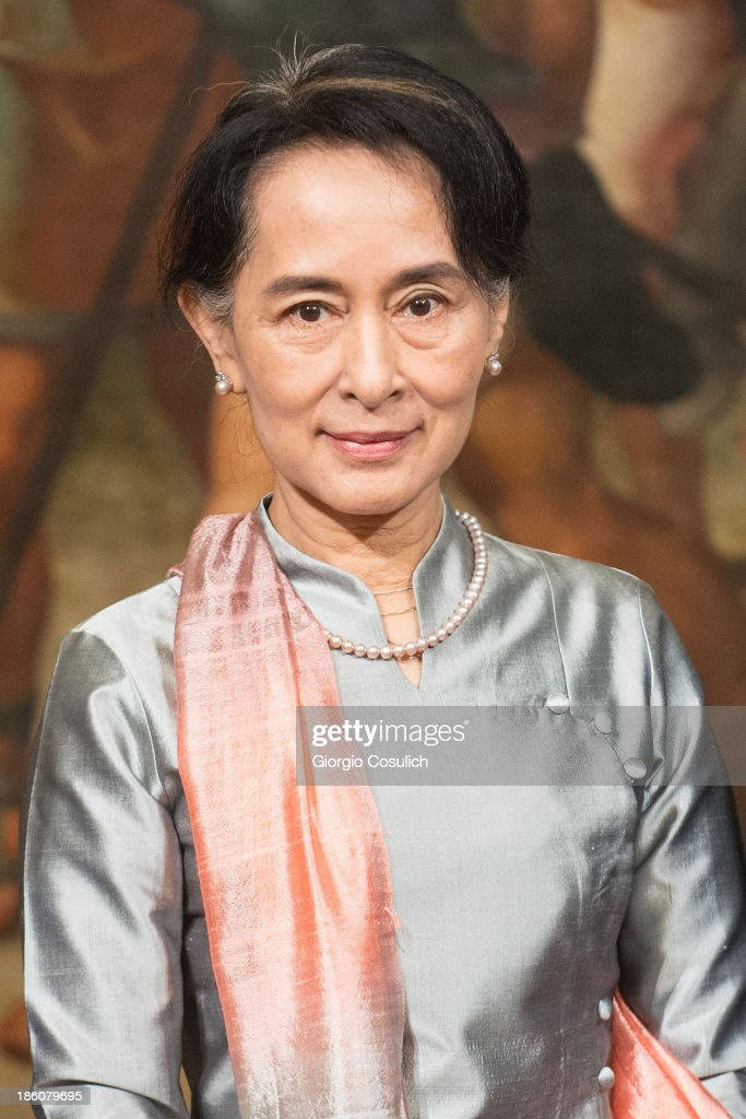 Nobel Peace Laureate Aung San Suu Kyi attends a meeting with Italian Prime Minister Enrico Letta at Palazzo Chigi on October 28, 2013 in Rome, Italy. Aung San Suu Kyi was awarded the honorary citizenship in 1994 but had been prevented from receiving it after being kept under house arrest until November 13, 2010, by Burma's military junta.