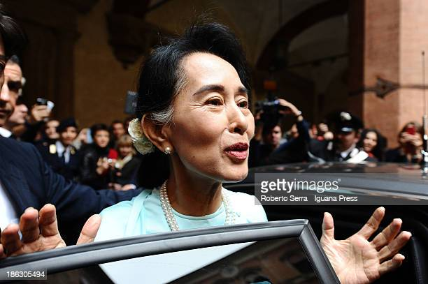 Nobel Peace Laureate Aung San Suu Kyi leave D'Accursio Palace after receives the honorary citizenship on October 30 2013 in Bologna Italy