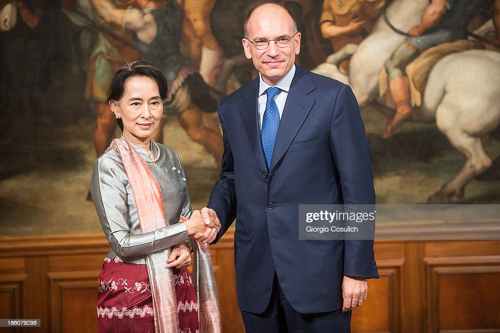 Nobel Peace Laureate Aung San Suu Kyi (L) meets with Italian Prime Minister Enrico Letta at Palazzo Chigi on October 28, 2013 in Rome, Italy. Aung San Suu Kyi was awarded the honorary citizenship in 1994 but had been prevented from receiving it after being kept under house arrest until November 13, 2010 , by Burma's military junta.
