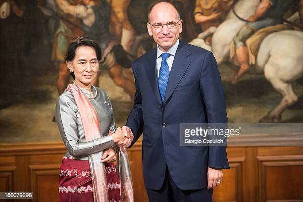 Nobel Peace Laureate Aung San Suu Kyi meets with Italian Prime Minister Enrico Letta at Palazzo Chigi on October 28 2013 in Rome Italy Aung San Suu...