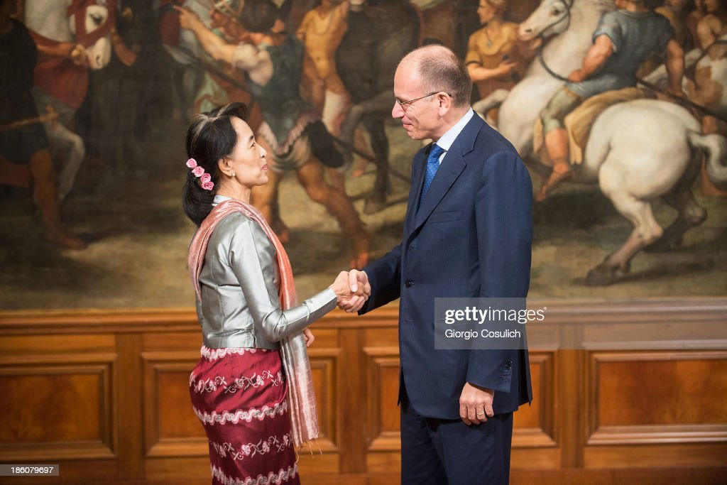 Nobel Peace Laureate <a gi-track='captionPersonalityLinkClicked' href=/galleries/search?phrase=Aung+San+Suu+Kyi&family=editorial&specificpeople=214208 ng-click='$event.stopPropagation()'>Aung San Suu Kyi</a> (L) meets with Italian Prime Minister <a gi-track='captionPersonalityLinkClicked' href=/galleries/search?phrase=Enrico+Letta&family=editorial&specificpeople=2915592 ng-click='$event.stopPropagation()'>Enrico Letta</a> at Palazzo Chigi on October 28, 2013 in Rome, Italy. <a gi-track='captionPersonalityLinkClicked' href=/galleries/search?phrase=Aung+San+Suu+Kyi&family=editorial&specificpeople=214208 ng-click='$event.stopPropagation()'>Aung San Suu Kyi</a> was awarded the honorary citizenship in 1994 but had been prevented from receiving it after being kept under house arrest until November 13, 2010 , by Burma's military junta.