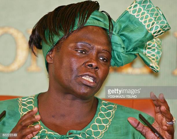 Nobel Peace Laureate Wangari Maathai Deputy Environment Minister of Kenya speaks before press in Toyko 21 February 2005 Maathai attended celebratoin...