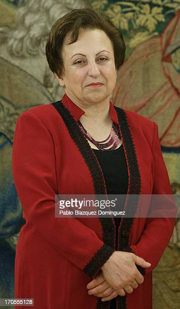 Nobel Peace Laureates Shirin Ebadi attends an audience with Queen Sofia of Spain at Zarzuela Palace on June 14 2013 in Madrid Spain