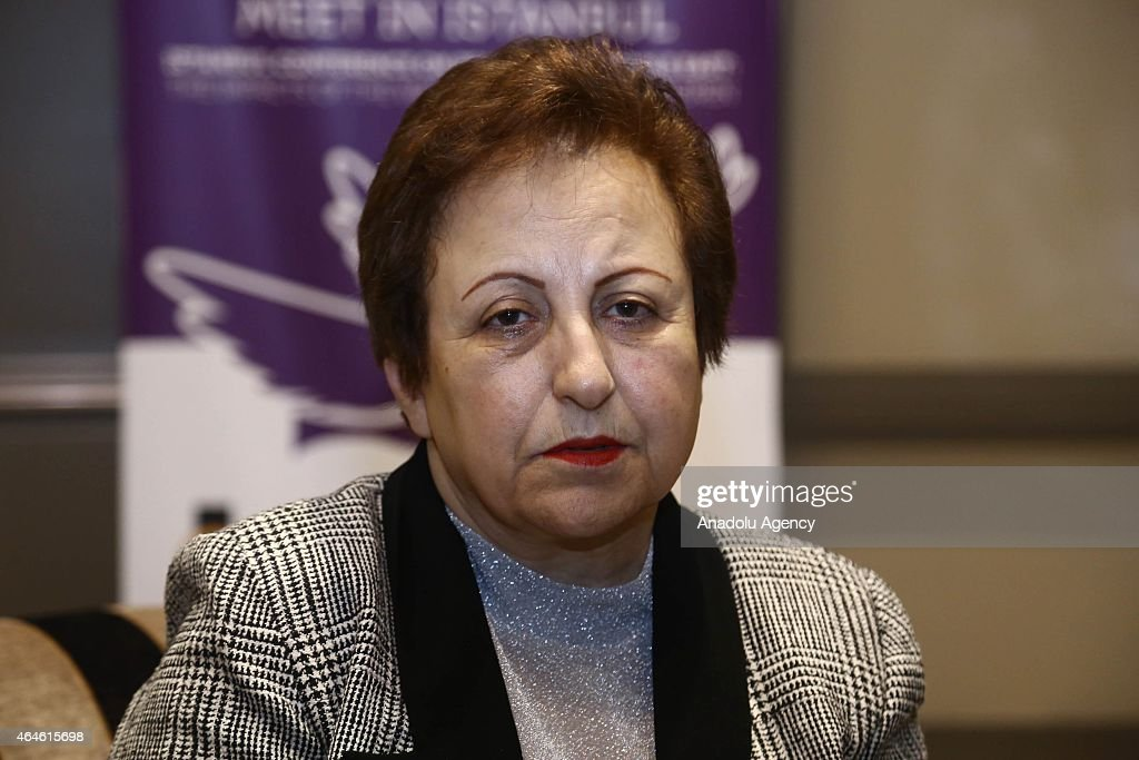 Nobel Peace Prize 2003 <a gi-track='captionPersonalityLinkClicked' href=/galleries/search?phrase=Shirin+Ebadi&family=editorial&specificpeople=563922 ng-click='$event.stopPropagation()'>Shirin Ebadi</a> speaks to the press regarding social issues in Iran on February 26, 2015 in Istanbul, Turkey.