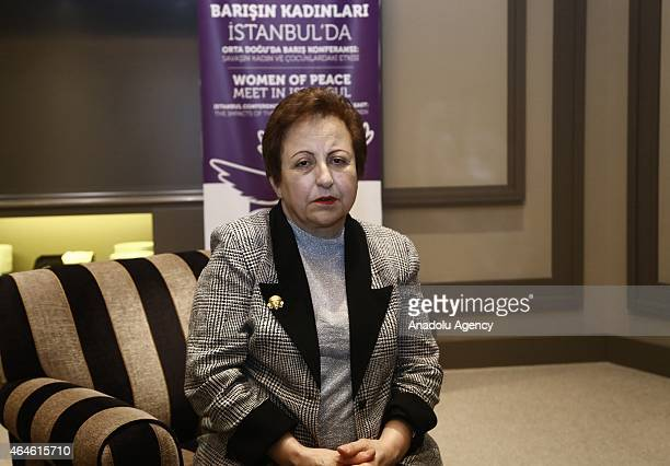 Nobel Peace Prize 2003 Shirin Ebadi speaks to the press regarding social issues in Iran on February 26 2015 in Istanbul Turkey