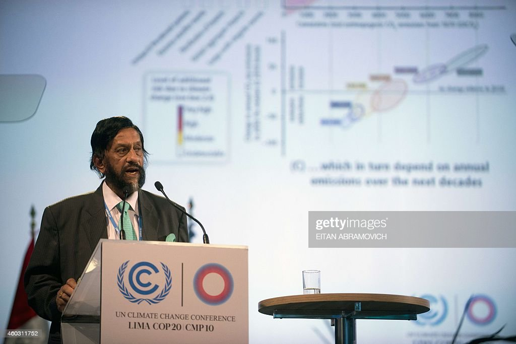 Nobel Peace Prize 2007 Indian <a gi-track='captionPersonalityLinkClicked' href=/galleries/search?phrase=Rajendra+Pachauri&family=editorial&specificpeople=4128691 ng-click='$event.stopPropagation()'>Rajendra Pachauri</a>, head of the UN panel of climate scientists, speaks during a high level meeting at UN COP20 and CMP10 climate change conferences being held in Lima on December 11, 2014. The UN 20th session of the Conference of the Parties on Climate Change (COP20), and the 10th session of the Conference of the Parties serving as the Meeting of the Parties to the Kyoto Protocol (CMP10) entered its second week of negotiations until 12th. AFP PHOTO/Eitan Abramovich