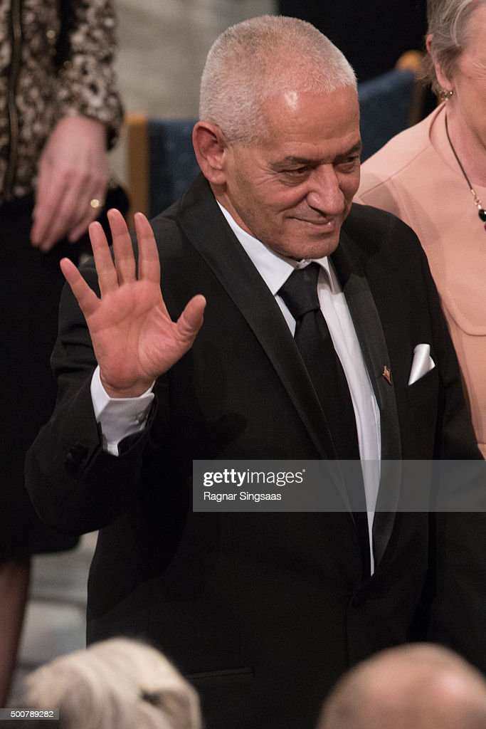 Nobel Peace Prize Laureate 2015 Houcine Abbassi of the 'Tunisian National Dialogue Quartet' reacts during the Nobel Peace Prize ceremony at Oslo City Town Hall on December 10, 2015 in Oslo, Norway.