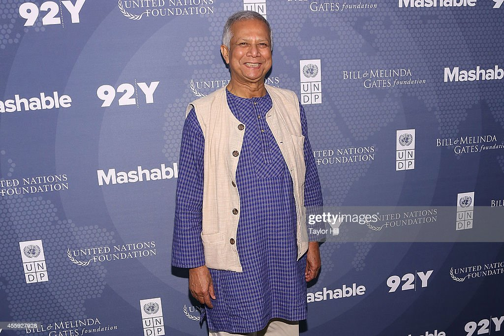 Nobel Peace Prize laureate and Grameen Bank founder Dr. <a gi-track='captionPersonalityLinkClicked' href=/galleries/search?phrase=Muhammad+Yunus&family=editorial&specificpeople=634405 ng-click='$event.stopPropagation()'>Muhammad Yunus</a> attends the 2014 Social Good Summit at 92Y on September 22, 2014 in New York City.