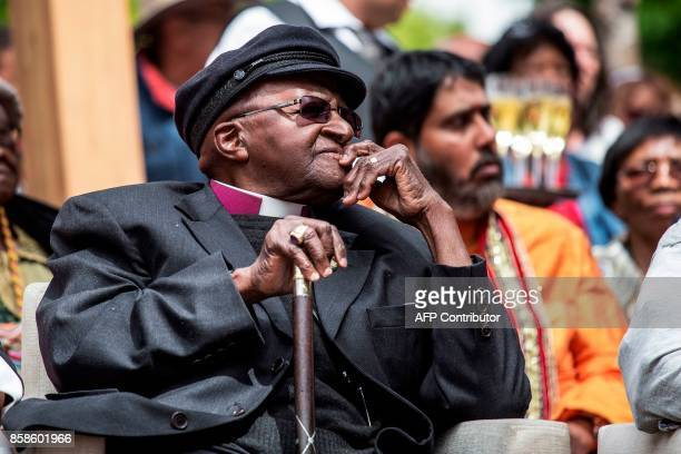 Nobel Peace Prize laureate and South African icon Archbishop Desmond Tutu looks on as he attends the unveiling ceremony of the 'Arch for the Arch' as...