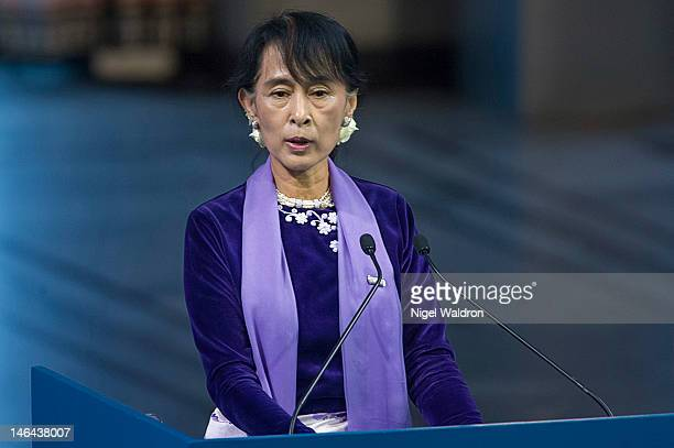Nobel Peace Prize laureate Aung San Suu Kyi of Burma delivers her acceptance speech during a Nobel Peace Prize lecture at Oslo City Hall on June 16...